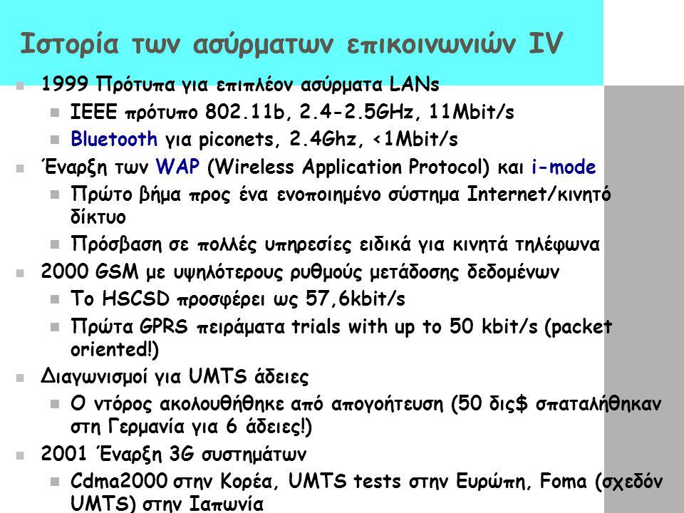 Ιστορία των ασύρματων επικοινωνιών ΙV 1999 Πρότυπα για επιπλέον ασύρματα LANs IEEE πρότυπο 802.11b, 2.4-2.5GHz, 11Mbit/s Bluetooth για piconets, 2.4Gh