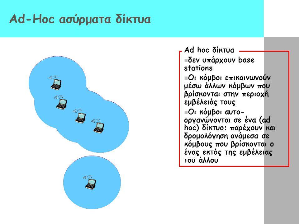 Ad-Hoc ασύρματα δίκτυα Ad hoc δίκτυα δεν υπάρχουν base stations Οι κόμβοι επικοινωνούν μέσω άλλων κόμβων που βρίσκονται στην περιοχή εμβέλειάς τους Οι