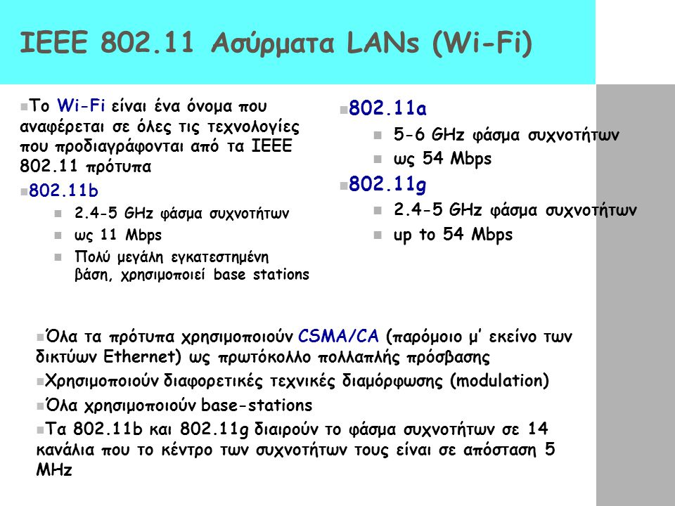 IEEE 802.11 Ασύρματα LANs (Wi-Fi) Το Wi-Fi είναι ένα όνομα που αναφέρεται σε όλες τις τεχνολογίες που προδιαγράφονται από τα ΙΕΕΕ 802.11 πρότυπα 802.1