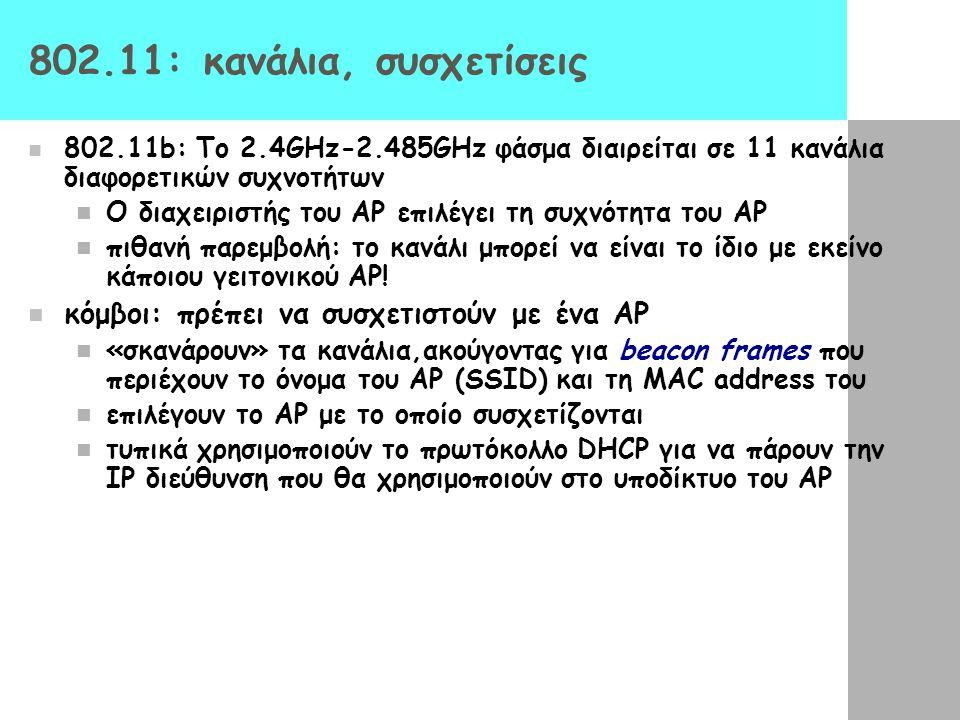 802.11: κανάλια, συσχετίσεις 802.11b: Το 2.4GHz-2.485GHz φάσμα διαιρείται σε 11 κανάλια διαφορετικών συχνοτήτων Ο διαχειριστής του AP επιλέγει τη συχν