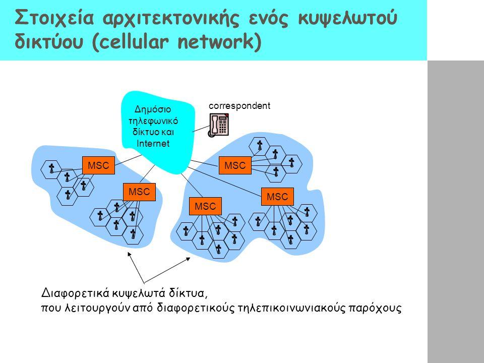 Στοιχεία αρχιτεκτονικής ενός κυψελωτού δικτύου (cellular network) correspondent MSC Δημόσιο τηλεφωνικό δίκτυο και Internet Διαφορετικά κυψελωτά δίκτυα