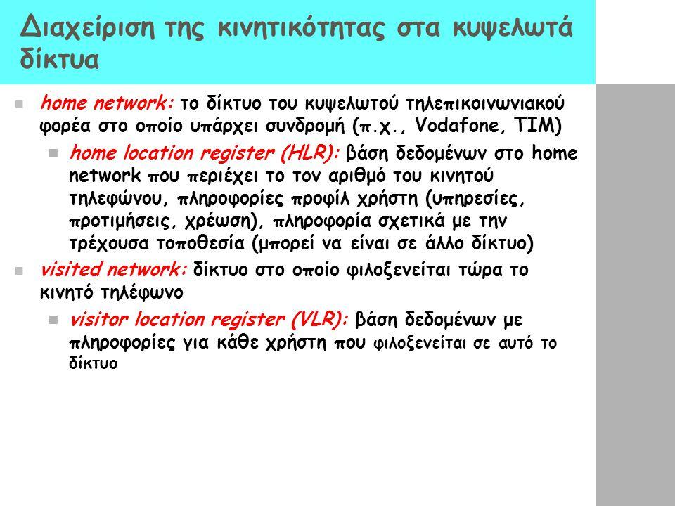 Διαχείριση της κινητικότητας στα κυψελωτά δίκτυα home network: το δίκτυο του κυψελωτού τηλεπικοινωνιακού φορέα στο οποίο υπάρχει συνδρομή (π.χ., Vodaf