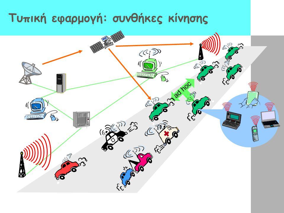 Ad-Hoc ασύρματα δίκτυα Ad hoc δίκτυα δεν υπάρχουν base stations Οι κόμβοι επικοινωνούν μέσω άλλων κόμβων που βρίσκονται στην περιοχή εμβέλειάς τους Οι κόμβοι αυτο- οργανώνονται σε ένα (ad hoc) δίκτυο: παρέχουν και δρομολόγηση ανάμεσα σε κόμβους που βρίσκονται ο ένας εκτός της εμβέλειας του άλλου