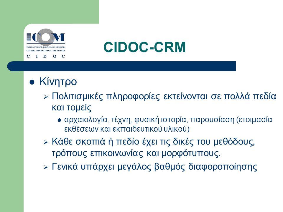 CIDOC-CRM Κίνητρο  Πολιτισμικές πληροφορίες εκτείνονται σε πολλά πεδία και τομείς αρχαιολογία, τέχνη, φυσική ιστορία, παρουσίαση (ετοιμασία εκθέσεων και εκπαιδευτικού υλικού)  Κάθε σκοπιά ή πεδίο έχει τις δικές του μεθόδους, τρόπους επικοινωνίας και μορφότυπους.