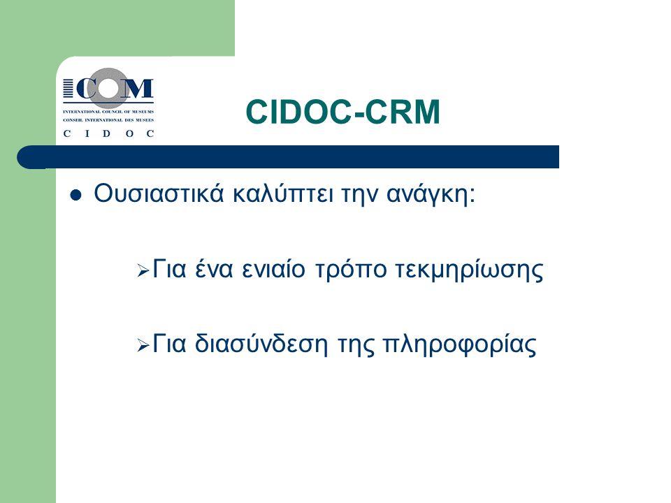 CIDOC-CRM Ουσιαστικά καλύπτει την ανάγκη:  Για ένα ενιαίο τρόπο τεκμηρίωσης  Για διασύνδεση της πληροφορίας