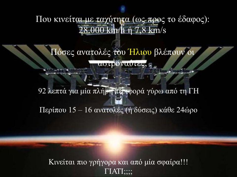10 Που κινείται με ταχύτητα (ως προς το έδαφος): 28.000 km/h ή 7,8 km/s Πόσες ανατολές του Ήλιου βλέπουν οι αστροναύτες; 92 λεπτά για μία πλήρη περιφορά γύρω από τη ΓΗ Περίπου 15 – 16 ανατολές (ή δύσεις) κάθε 24ώρο Κινείται πιο γρήγορα και από μία σφαίρα!!.