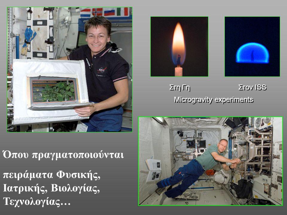 Στη Γη Στον ISS Όπου πραγματοποιούνται πειράματα Φυσικής, Ιατρικής, Βιολογίας, Τεχνολογίας… Microgravity experiments