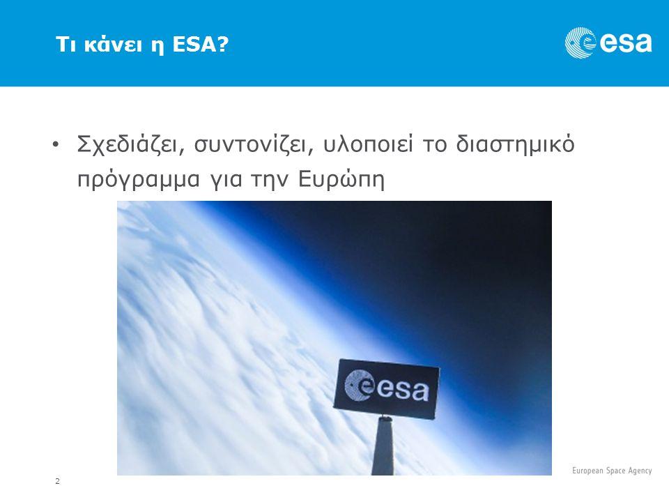 2 Τι κάνει η ESA Σχεδιάζει, συντονίζει, υλοποιεί το διαστημικό πρόγραμμα για την Ευρώπη