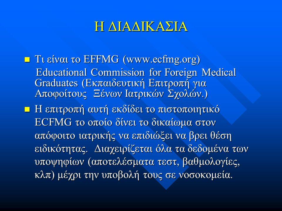 Η ΔΙΑΔΙΚΑΣΙΑ Τι είναι το EFFMG (www.ecfmg.org) Τι είναι το EFFMG (www.ecfmg.org) Educational Commission for Foreign Medical Graduates (Εκπαιδευτική Επιτροπή για Αποφοίτους Ξένων Ιατρικών Σχολών.) Educational Commission for Foreign Medical Graduates (Εκπαιδευτική Επιτροπή για Αποφοίτους Ξένων Ιατρικών Σχολών.) Η επιτροπή αυτή εκδίδει το πιστοποιητικό ECFMG το οποίο δίνει το δικαίωμα στον απόφοιτο ιατρικής να επιδιώξει να βρει θέση ειδικότητας.