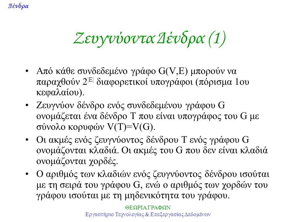Δένδρα ΘΕΩΡΙΑ ΓΡΑΦΩΝ Εργαστήριο Τεχνολογίας & Επεξεργασίας Δεδομένων Ζευγνύoντα Δένδρα (1) Από κάθε συνδεδεμένο γράφο G(V,E) μπορούν να παραχθούν 2 |Ε