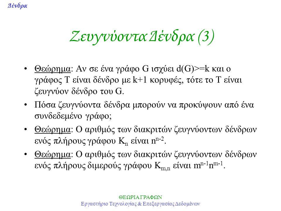 Δένδρα ΘΕΩΡΙΑ ΓΡΑΦΩΝ Εργαστήριο Τεχνολογίας & Επεξεργασίας Δεδομένων Ζευγνύoντα Δένδρα (3) Θεώρημα: Αν σε ένα γράφο G ισχύει d(G)>=k και ο γράφος Τ εί