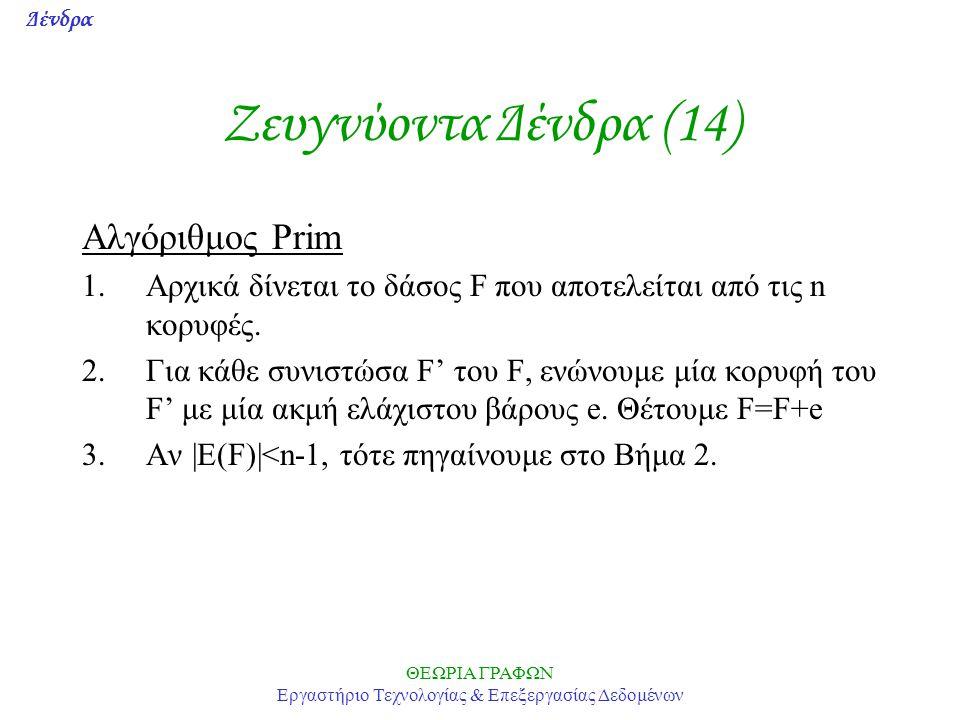 Δένδρα ΘΕΩΡΙΑ ΓΡΑΦΩΝ Εργαστήριο Τεχνολογίας & Επεξεργασίας Δεδομένων Ζευγνύoντα Δένδρα (14) Αλγόριθμος Prim 1.Αρχικά δίνεται το δάσος F που αποτελείτα
