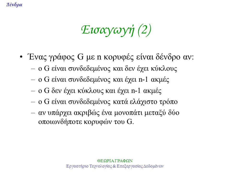 Δένδρα ΘΕΩΡΙΑ ΓΡΑΦΩΝ Εργαστήριο Τεχνολογίας & Επεξεργασίας Δεδομένων Εισαγωγή (2) Ένας γράφος G με n κορυφές είναι δένδρο αν: –o G είναι συνδεδεμένος