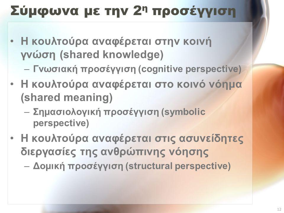 12 Σύμφωνα με την 2 η προσέγγιση Η κουλτούρα αναφέρεται στην κοινή γνώση (shared knowledge) –Γνωσιακή προσέγγιση (cognitive perspective) Η κουλτούρα α