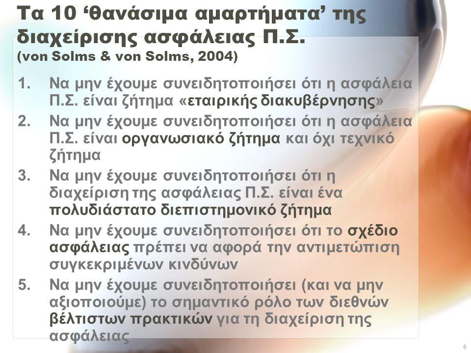 6 Τα 10 'θανάσιμα αμαρτήματα' της διαχείρισης ασφάλειας Π.Σ. (von Solms & von Solms, 2004) 1.Να μην έχουμε συνειδητοποιήσει ότι η ασφάλεια Π.Σ. είναι