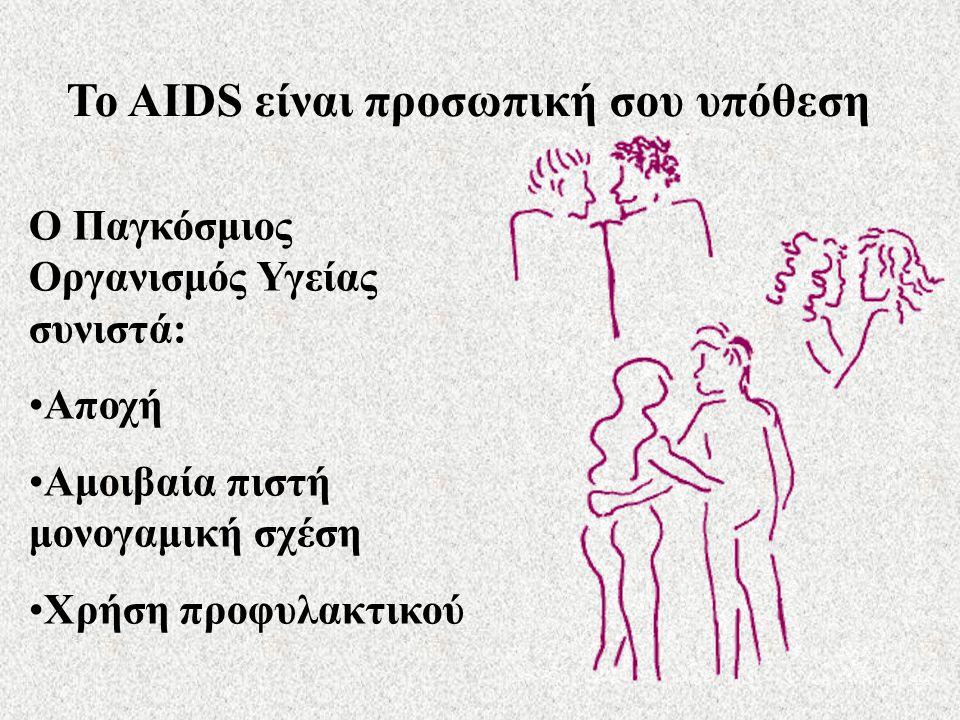 Το AIDS είναι προσωπική σου υπόθεση Ο Παγκόσμιος Οργανισμός Υγείας συνιστά: Αποχή Αμοιβαία πιστή μονογαμική σχέση Χρήση προφυλακτικού