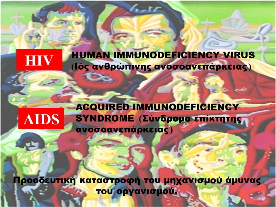 HIV HUMAN IMMUNODEFICIENCY VIRUS ( Ιός ανθρώπινης ανοσοανεπάρκειας ) AIDS ACQUIRED IMMUNODEFICIENCY SYNDROME ( Σύνδρομο επίκτητης ανοσοανεπάρκειας ) Προοδευτική καταστροφή του μηχανισμού άμυνας του οργανισμού.
