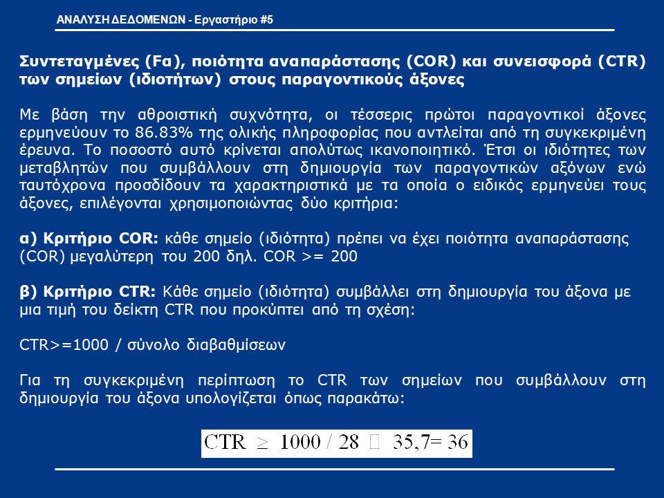 Συντεταγμένες (Fα), ποιότητα αναπαράστασης (COR) και συνεισφορά (CTR) των σημείων (ιδιοτήτων) στους παραγοντικούς άξονες Με βάση την αθροιστική συχνότ