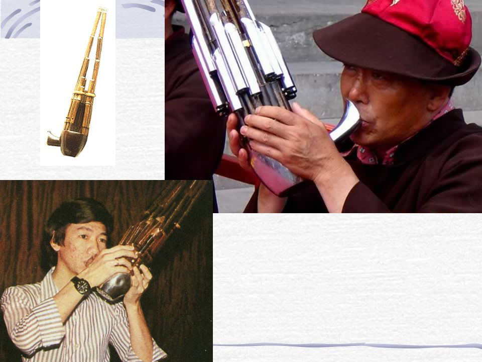 A free reed mouth organ consisting of varying number of bamboo pipes inserted into a gourd chamber with finger holes 笙