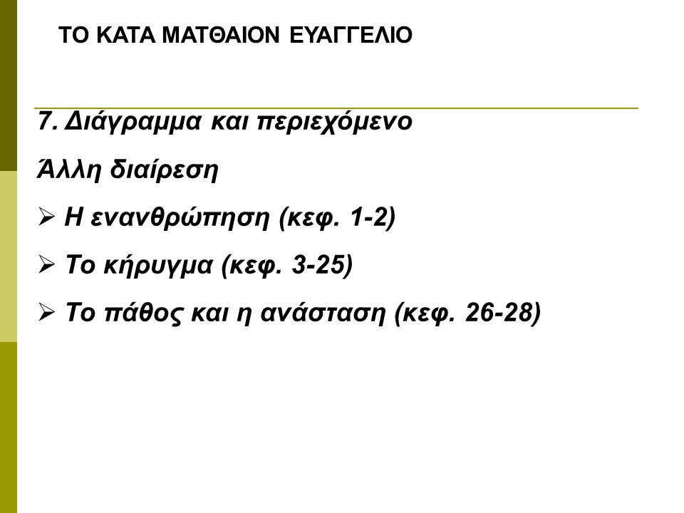 ΤΟ ΚΑΤΑ ΜΑΤΘΑΙΟΝ ΕΥΑΓΓΕΛΙΟ 7. Διάγραμμα και περιεχόμενο Άλλη διαίρεση  Η ενανθρώπηση (κεφ. 1-2)  Το κήρυγμα (κεφ. 3-25)  Το πάθος και η ανάσταση (κ