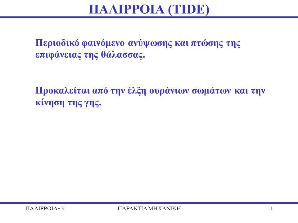 ΠΑΛΙΡΡΟΙΑ - 3ΠΑΡΑΚΤΙΑ MHXANIKH1 ΠΑΛΙΡΡΟΙΑ (ΤΙDE) Περιοδικό φαινόμενο ανύψωσης και πτώσης της επιφάνειας της θάλασσας.