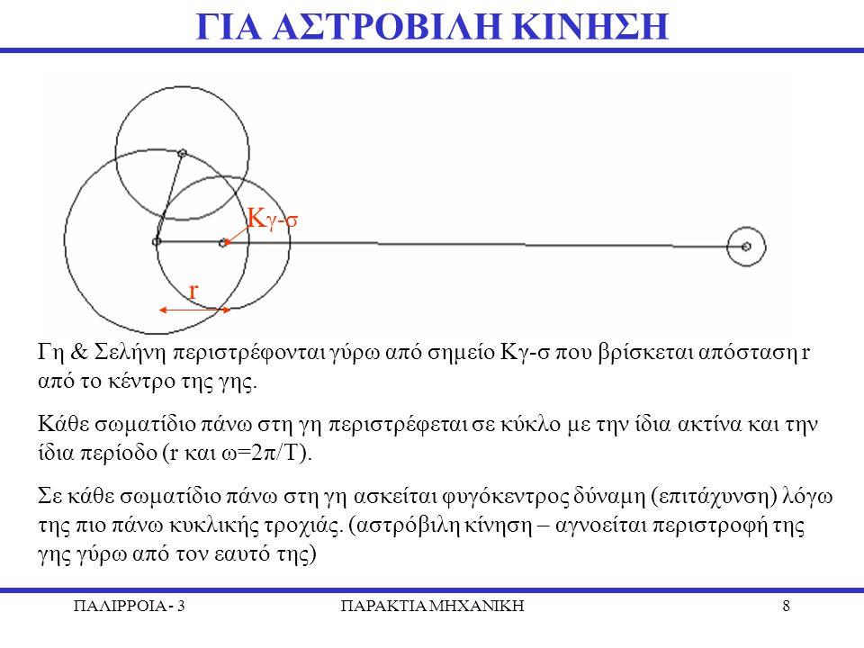 ΠΑΛΙΡΡΟΙΑ - 3ΠΑΡΑΚΤΙΑ MHXANIKH8 ΓΙΑ ΑΣΤΡΟΒΙΛΗ ΚΙΝΗΣΗ Γη & Σελήνη περιστρέφονται γύρω από σημείο Κγ-σ που βρίσκεται απόσταση r από το κέντρο της γης. Κ