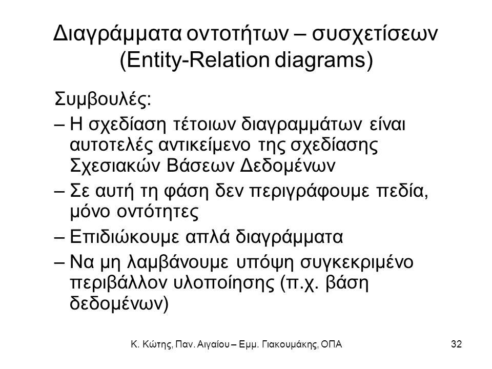 Διαγράμματα οντοτήτων – συσχετίσεων (Entity-Relation diagrams) Συμβουλές: –Η σχεδίαση τέτοιων διαγραμμάτων είναι αυτοτελές αντικείμενο της σχεδίασης Σ