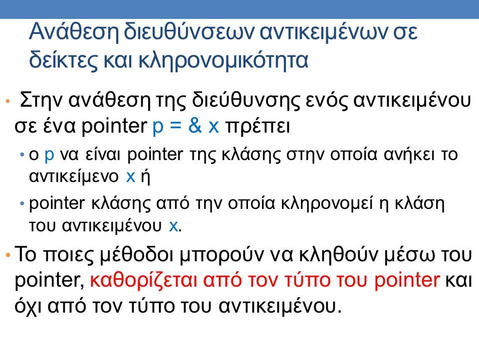 Ανάθεση διευθύνσεων αντικειμένων σε δείκτες και κληρονομικότητα Στην ανάθεση της διεύθυνσης ενός αντικειμένου σε ένα pointer p = & x πρέπει ο p να είναι pointer της κλάσης στην οποία ανήκει το αντικείμενο x ή pointer κλάσης από την οποία κληρονομεί η κλάση του αντικειμένου x.