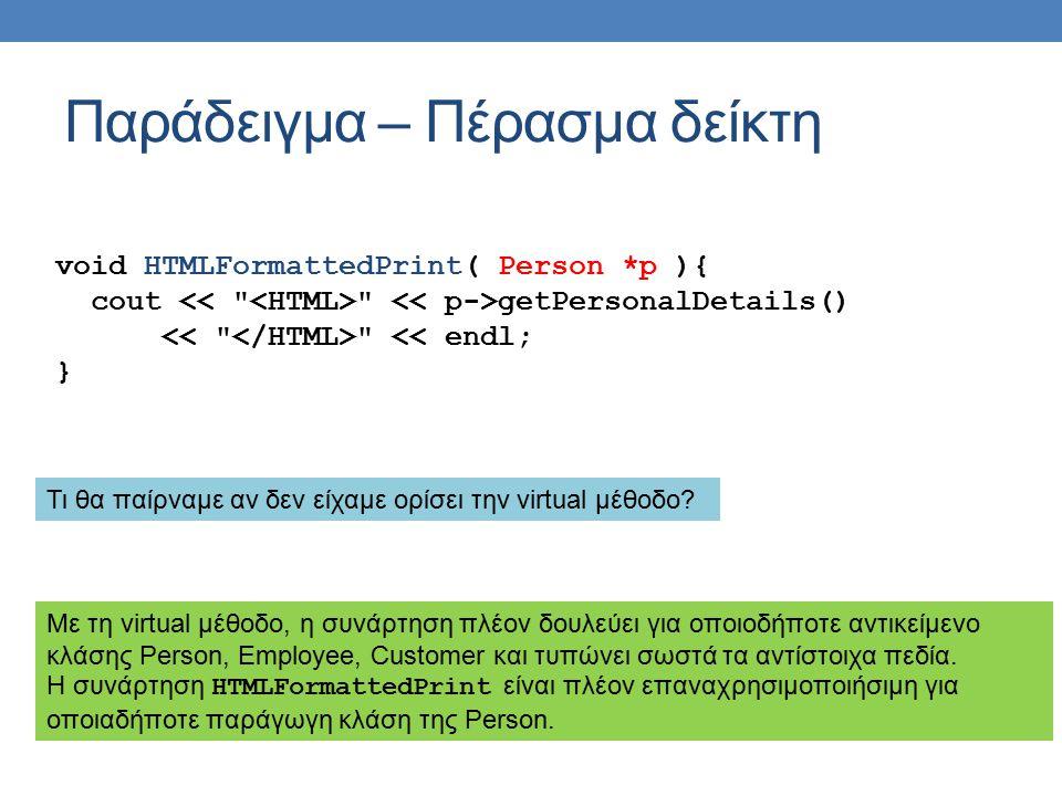 Παράδειγμα – Πέρασμα δείκτη void HTMLFormattedPrint( Person *p ){ cout