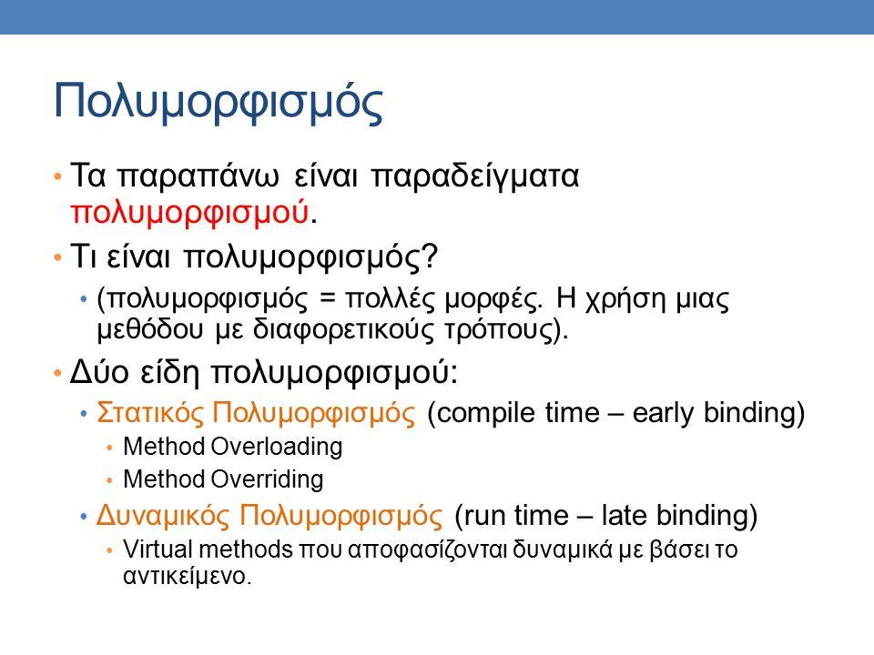 Πολυμορφισμός Τα παραπάνω είναι παραδείγματα πολυμορφισμού.