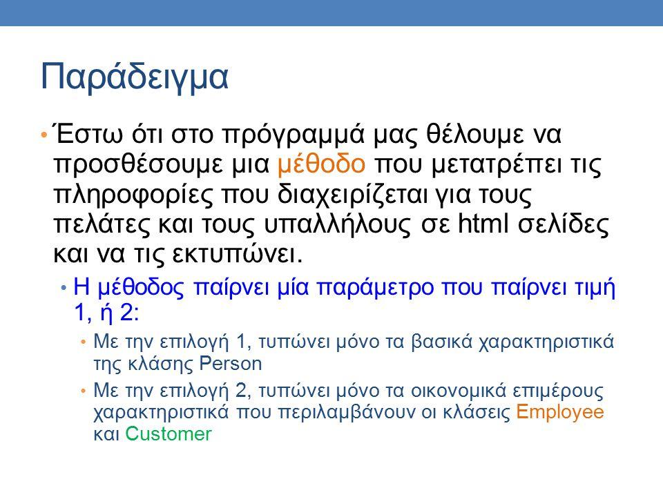 Παράδειγμα Έστω ότι στο πρόγραμμά μας θέλουμε να προσθέσουμε μια μέθοδο που μετατρέπει τις πληροφορίες που διαχειρίζεται για τους πελάτες και τους υπαλλήλους σε html σελίδες και να τις εκτυπώνει.
