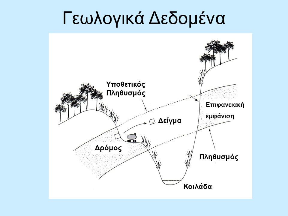 Γεωλογικά Δεδομένα Πληθυσμός Κοιλάδα Δείγμα Υποθετικός Πληθυσμός Επιφανειακή εμφάνιση Δρόμος