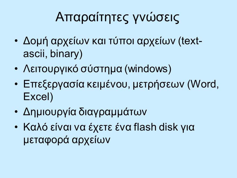 Απαραίτητες γνώσεις Δομή αρχείων και τύποι αρχείων (text- ascii, binary) Λειτουργικό σύστημα (windows) Επεξεργασία κειμένου, μετρήσεων (Word, Excel) Δημιουργία διαγραμμάτων Καλό είναι να έχετε ένα flash disk για μεταφορά αρχείων