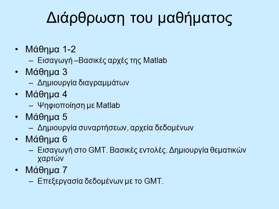 Διάρθρωση του μαθήματος Μάθημα 1-2 –Εισαγωγή –Βασικές αρχές της Matlab Μάθημα 3 –Δημιουργία διαγραμμάτων Μάθημα 4 –Ψηφιοποίηση με Matlab Μάθημα 5 –Δημιουργία συναρτήσεων, αρχεία δεδομένων Μάθημα 6 –Εισαγωγή στο GMT.
