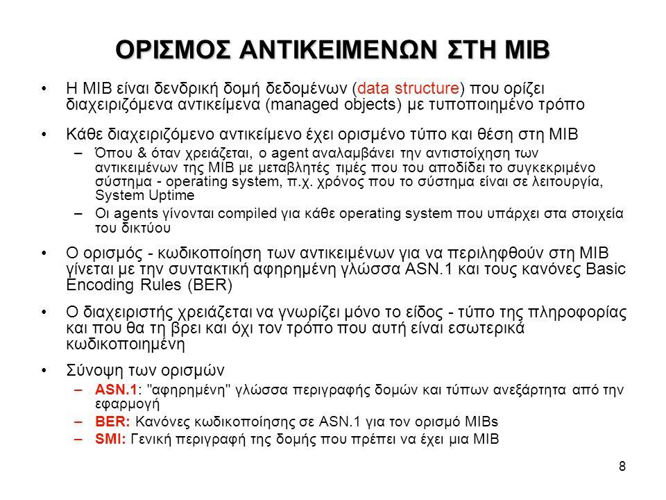 8 ΟΡΙΣΜΟΣ ΑΝΤΙΚΕΙΜΕΝΩΝ ΣΤΗ MIB Η MIB είναι δενδρική δομή δεδομένων (data structure) που ορίζει διαχειριζόμενα αντικείμενα (managed objects) με τυποποιημένο τρόπο Κάθε διαχειριζόμενο αντικείμενο έχει ορισμένο τύπο και θέση στη ΜΙΒ –Όπου & όταν χρειάζεται, ο agent αναλαμβάνει την αντιστοίχηση των αντικειμένων της MIB με μεταβλητές τιμές που του αποδίδει το συγκεκριμένο σύστημα - operating system, π.χ.