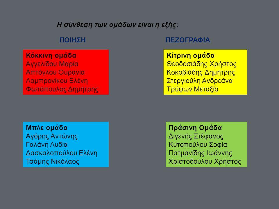 Η σύνθεση των ομάδων είναι η εξής: ΠΟΙΗΣΗΠΕΖΟΓΡΑΦΙΑ Κόκκινη ομάδα Αγγελίδου Μαρία Απτόγλου Ουρανία Λαμπρονίκου Ελένη Φωτόπουλος Δημήτρης Μπλε ομάδα Αγ