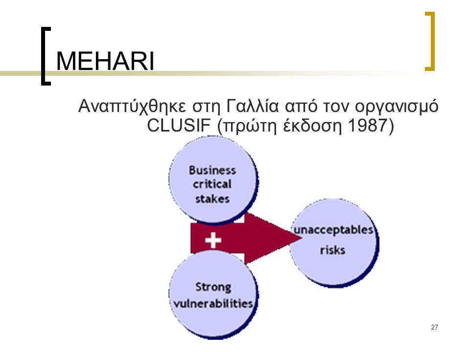 27 MEHARI Αναπτύχθηκε στη Γαλλία από τον οργανισμό CLUSIF (πρώτη έκδοση 1987)