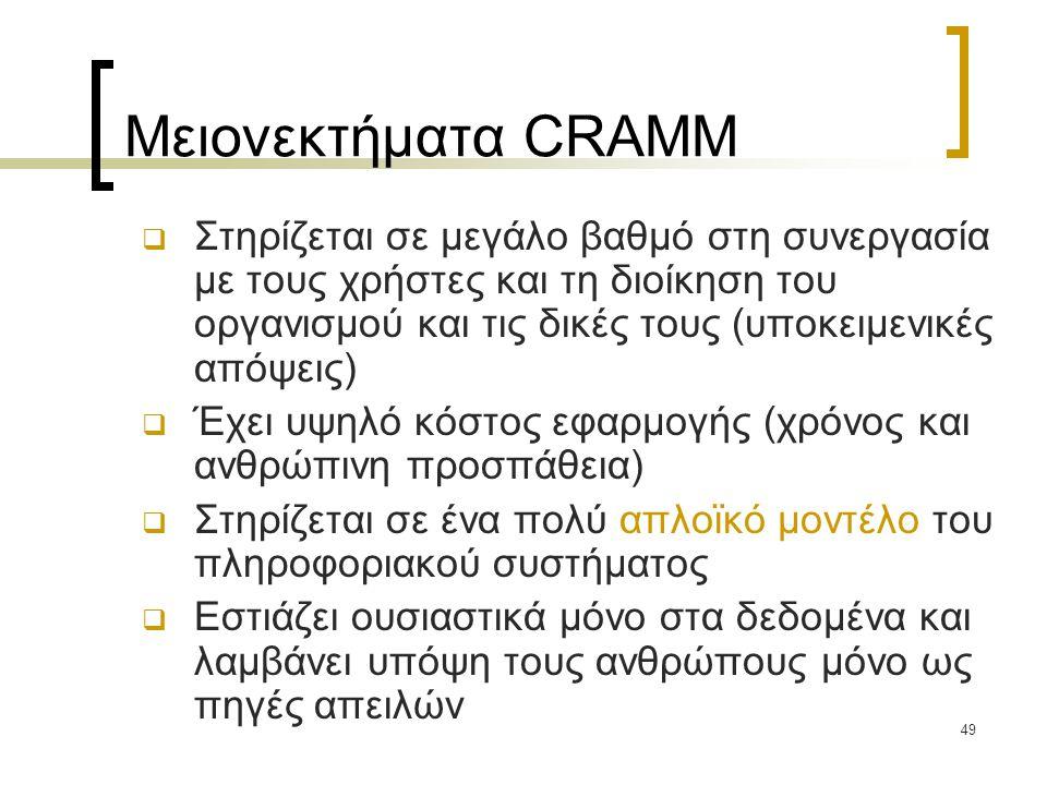 49 Μειονεκτήματα CRAMM  Στηρίζεται σε μεγάλο βαθμό στη συνεργασία με τους χρήστες και τη διοίκηση του οργανισμού και τις δικές τους (υποκειμενικές απόψεις)  Έχει υψηλό κόστος εφαρμογής (χρόνος και ανθρώπινη προσπάθεια)  Στηρίζεται σε ένα πολύ απλοϊκό μοντέλο του πληροφοριακού συστήματος  Εστιάζει ουσιαστικά μόνο στα δεδομένα και λαμβάνει υπόψη τους ανθρώπους μόνο ως πηγές απειλών