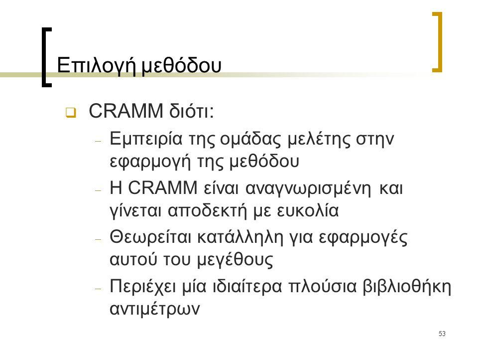 53 Επιλογή μεθόδου  CRAMM διότι:  Εμπειρία της ομάδας μελέτης στην εφαρμογή της μεθόδου  Η CRAMM είναι αναγνωρισμένη και γίνεται αποδεκτή με ευκολία  Θεωρείται κατάλληλη για εφαρμογές αυτού του μεγέθους  Περιέχει μία ιδιαίτερα πλούσια βιβλιοθήκη αντιμέτρων