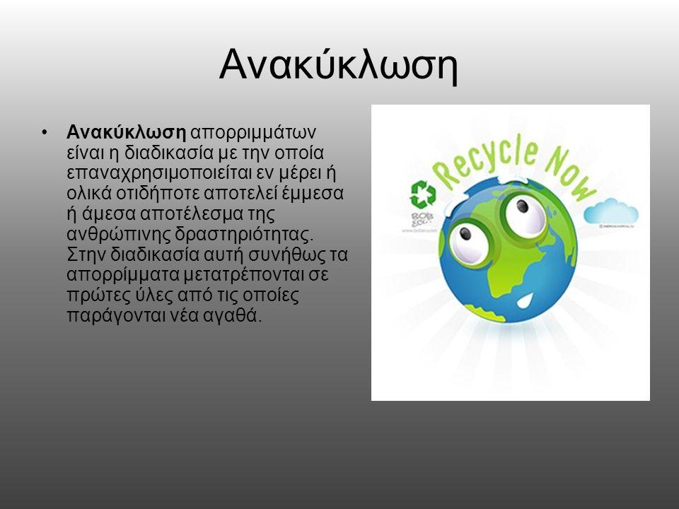Ανακυκλώσιμα Προϊόντα Μεγάλες οικιακές συσκευές (ψυγεία, πλυντήρια κλπ.), Μικροσυσκευές που διευκολύνουν τη ζωή (κλιματιστικά, φωτιστικά είδη, συσκευές τηλεπικοινωνίας κλπ.) Ιατροτεχνολογικά προϊόντα ( +φάρμακα) Χαρτί Πλαστικό Αλουμίνιο Γυαλί Ελαστικά Αυτοκινήτων Μπαταρίες
