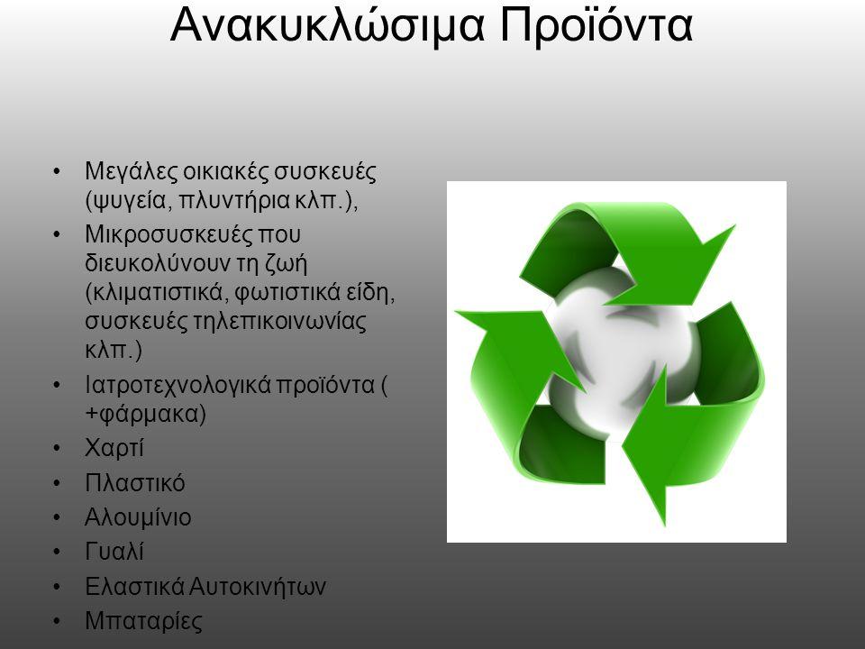 Οφέλη Η ανακύκλωση μειώνει την κατανάλωση πρώτων υλών και την χρήση ενέργειας και ως εκ τούτου τις εκπομπές αεριών και θερμοκηπίου