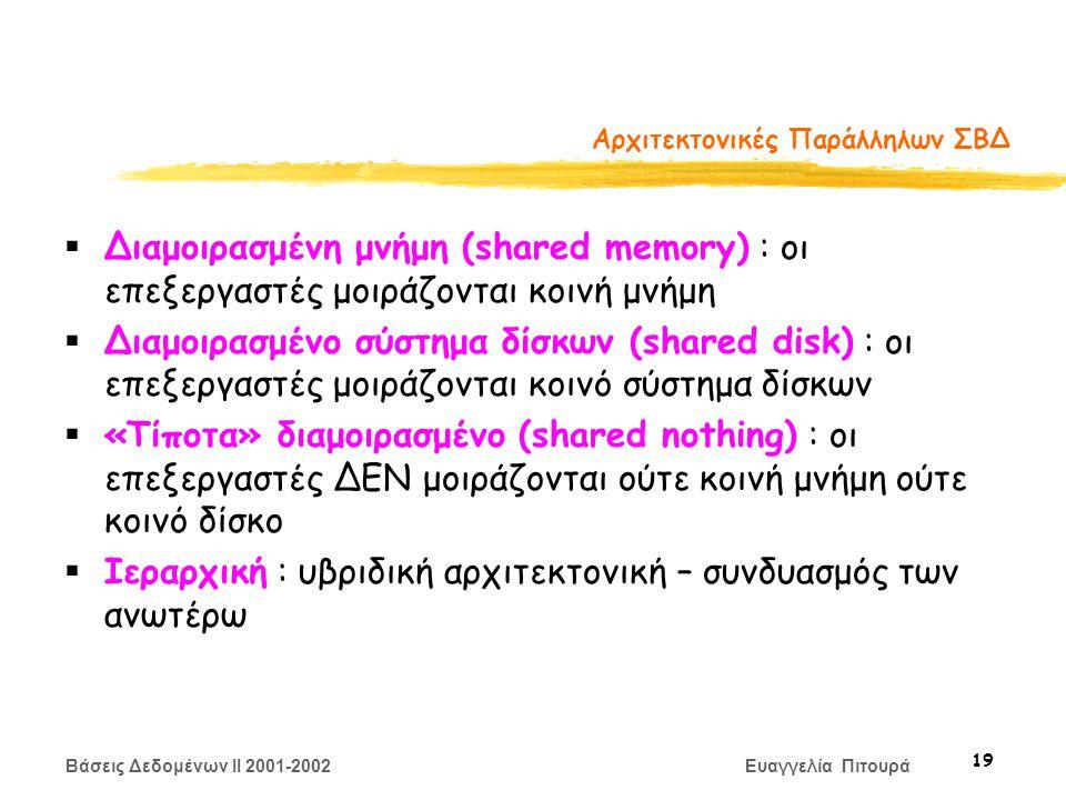 Βάσεις Δεδομένων II 2001-2002 Ευαγγελία Πιτουρά 19 Αρχιτεκτονικές Παράλληλων ΣΒΔ  Διαμοιρασμένη μνήμη (shared memory) : οι επεξεργαστές μοιράζονται κοινή μνήμη  Διαμοιρασμένο σύστημα δίσκων (shared disk) : οι επεξεργαστές μοιράζονται κοινό σύστημα δίσκων  «Τίποτα» διαμοιρασμένο (shared nothing) : οι επεξεργαστές ΔΕΝ μοιράζονται ούτε κοινή μνήμη ούτε κοινό δίσκο  Ιεραρχική : υβριδική αρχιτεκτονική – συνδυασμός των ανωτέρω