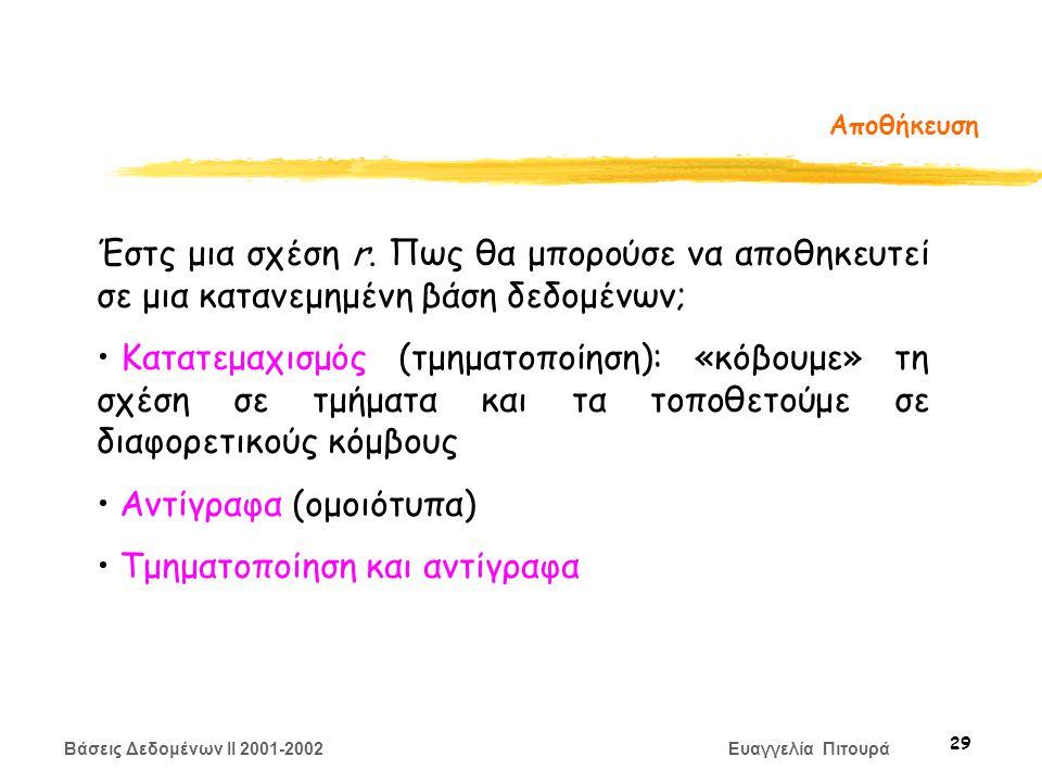 Βάσεις Δεδομένων II 2001-2002 Ευαγγελία Πιτουρά 29 Αποθήκευση Έστς μια σχέση r.