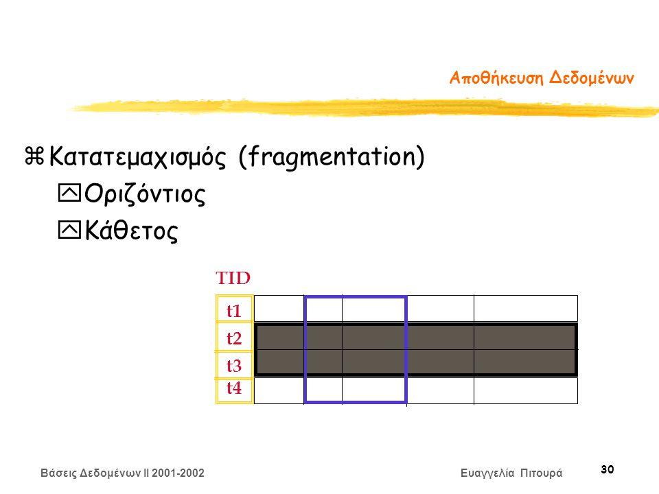 Βάσεις Δεδομένων II 2001-2002 Ευαγγελία Πιτουρά 30 Αποθήκευση Δεδομένων zΚατατεμαχισμός (fragmentation) yΟριζόντιος yΚάθετος TID t1 t2 t3 t4