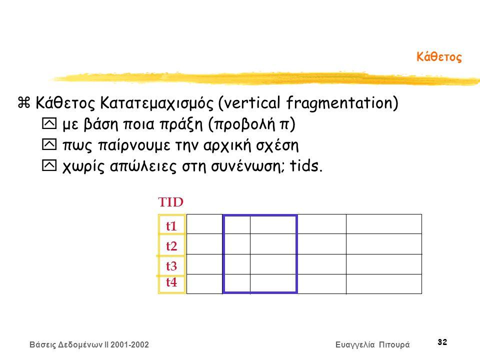 Βάσεις Δεδομένων II 2001-2002 Ευαγγελία Πιτουρά 32 Κάθετος zΚάθετος Κατατεμαχισμός (vertical fragmentation) y με βάση ποια πράξη (προβολή π) y πως παίρνουμε την αρχική σχέση y χωρίς απώλειες στη συνένωση; tids.