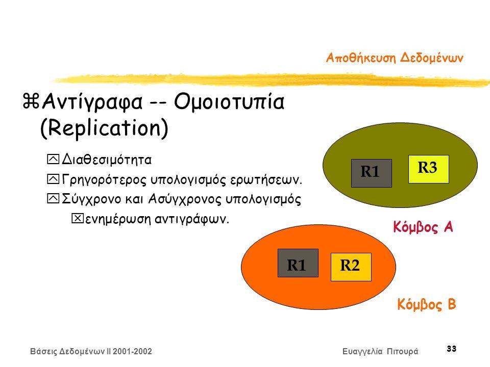 Βάσεις Δεδομένων II 2001-2002 Ευαγγελία Πιτουρά 33 Αποθήκευση Δεδομένων zΑντίγραφα -- Ομοιοτυπία (Replication) yΔιαθεσιμότητα yΓρηγορότερος υπολογισμός ερωτήσεων.
