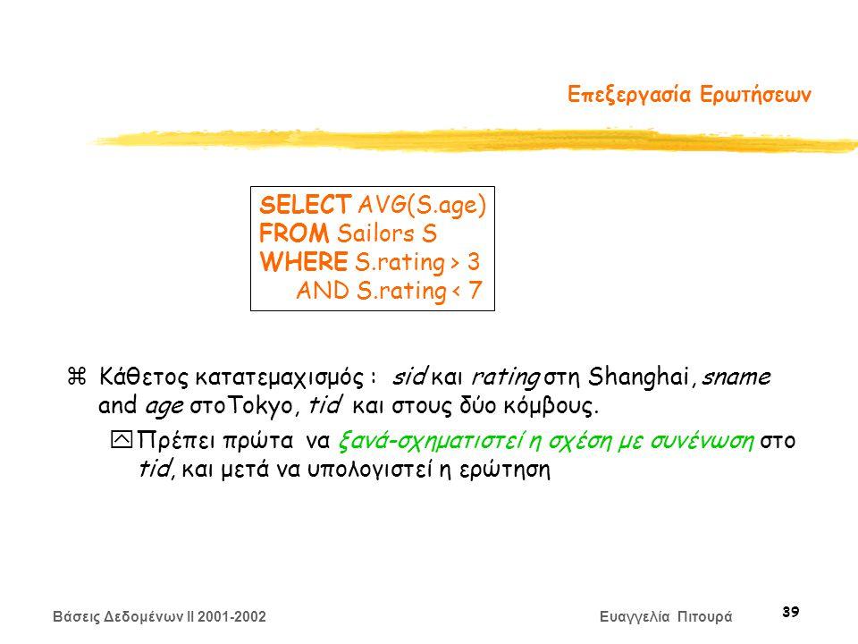 Βάσεις Δεδομένων II 2001-2002 Ευαγγελία Πιτουρά 39 Επεξεργασία Ερωτήσεων zΚάθετος κατατεμαχισμός : sid και rating στη Shanghai, sname and age στοTokyo, tid και στους δύο κόμβους.