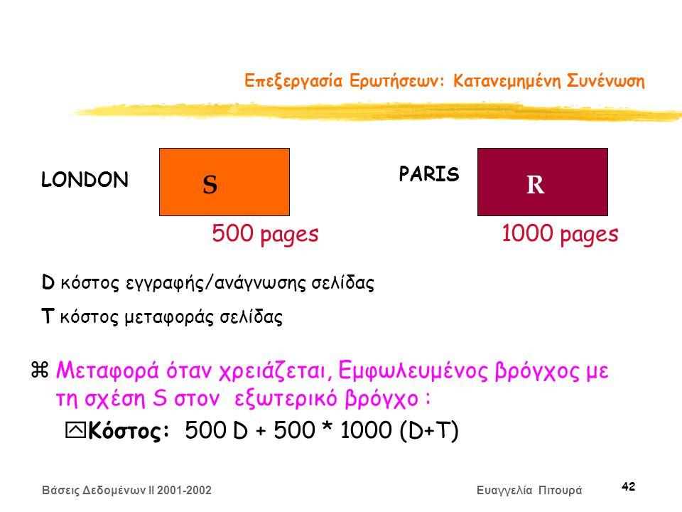 Βάσεις Δεδομένων II 2001-2002 Ευαγγελία Πιτουρά 42 Επεξεργασία Ερωτήσεων: Κατανεμημένη Συνένωση zΜεταφορά όταν χρειάζεται, Εμφωλευμένος βρόγχος με τη σχέση S στον εξωτερικό βρόγχο : yΚόστος: 500 D + 500 * 1000 (D+Τ) SR LONDON PARIS 500 pages1000 pages D κόστος εγγραφής/ανάγνωσης σελίδας Τ κόστος μεταφοράς σελίδας