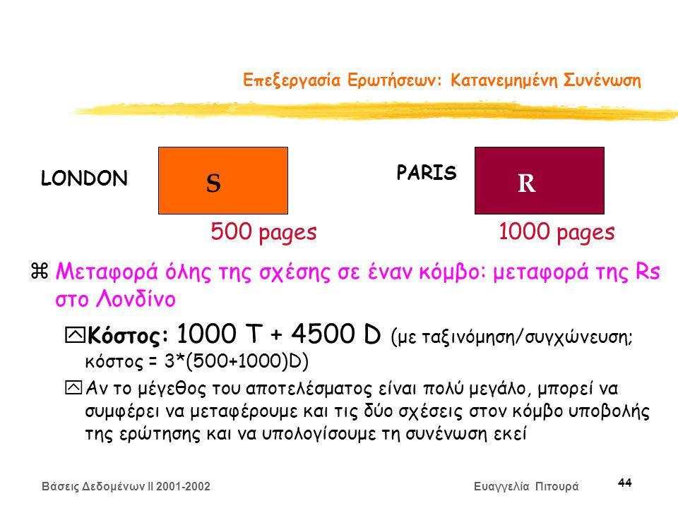 Βάσεις Δεδομένων II 2001-2002 Ευαγγελία Πιτουρά 44 Επεξεργασία Ερωτήσεων: Κατανεμημένη Συνένωση zΜεταφορά όλης της σχέσης σε έναν κόμβο: μεταφορά της Rs στο Λονδίνο yΚόστος: 1000 Τ + 4500 D (με ταξινόμηση/συγχώνευση; κόστος = 3*(500+1000)D) yΑν το μέγεθος του αποτελέσματος είναι πολύ μεγάλο, μπορεί να συμφέρει να μεταφέρουμε και τις δύο σχέσεις στον κόμβο υποβολής της ερώτησης και να υπολογίσουμε τη συνένωση εκεί SR LONDON PARIS 500 pages1000 pages