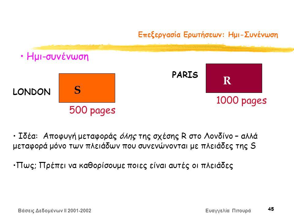 Βάσεις Δεδομένων II 2001-2002 Ευαγγελία Πιτουρά 45 Επεξεργασία Ερωτήσεων: Ημι-Συνένωση S R LONDON PARIS 500 pages 1000 pages Ημι-συνένωση Ιδέα: Αποφυγή μεταφοράς όλης της σχέσης R στο Λονδίνο – αλλά μεταφορά μόνο των πλειάδων που συνενώνονται με πλειάδες της S Πως; Πρέπει να καθορίσουμε ποιες είναι αυτές οι πλειάδες